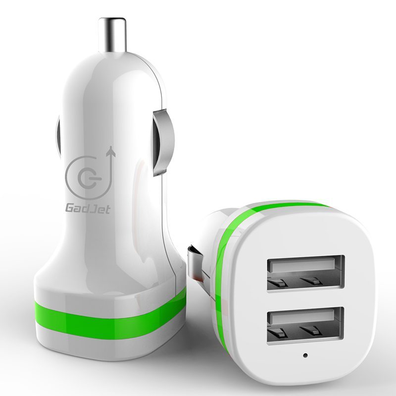 Dual Car Charger White/Green Gadjet Mobile Phone Accessories